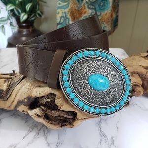 Vegan leather boho belt metal buckle turquoise